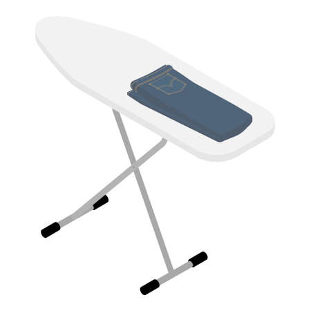 Blue jeans clothing on ironing board. Isolated on white background. Isometric view.