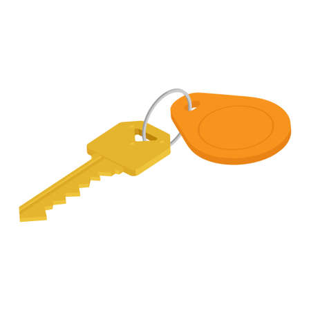 Golden key with blank orange tag. Key with key chain isolated on white background. Isometric view. Vectores