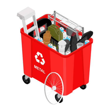 Red can with sorted metal garbage vector icon. Recycling garbage separation and recycled isolated on white background. Recycling concept - bin full of metal