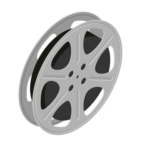 Film cinema reel isolated on white background. Vector. Isometric view Illustration