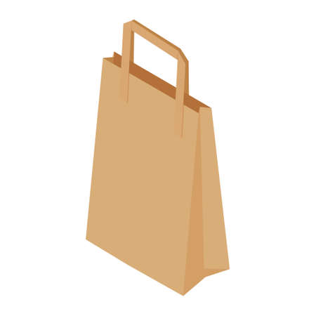 Brown recycled paper shopping bag on white background. Isometric view. Vector