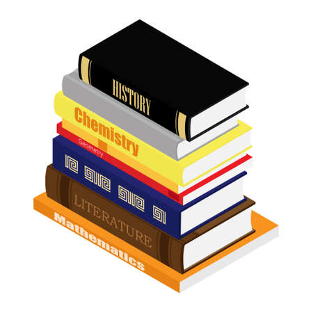 Education concept. Stack of school books. Literature, geometry, mathematics and history. Isometric view. Vector