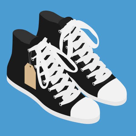 Pair of vintage black converse sneakers shoes. Isolated on blue background. Isometric view