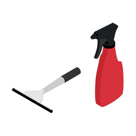 Vector illustration red rubber window glass squeegee, cleaner and bottle with spray. Cleaning supplies