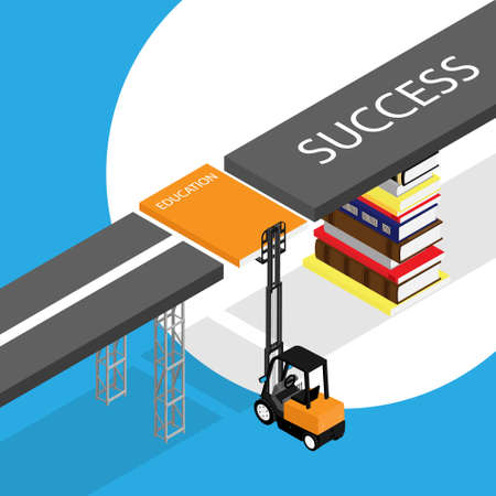 Education concept. Loader lift up book and stack of books holds road of success. Isometric view. Vector