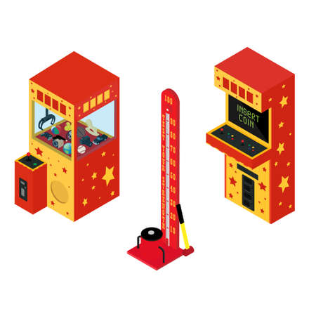 Vending machine pullout toys, arcade game machine and Test your strength Illustration