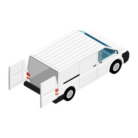 Hi-detailed Cargo Delivery Van with opened doors vector isometric view. Mockup Template for Branding and Corporate identity design on transport. Realistic White Cargo Van.