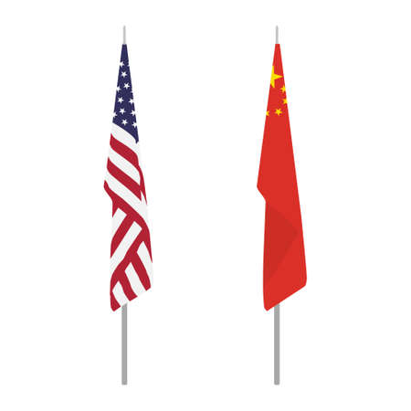 Chinese and USA flag on stand, stick. Isolated on white background. Relationship, partnership concept. Vector