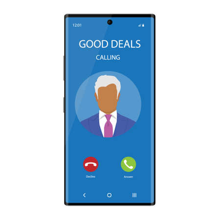 Smartphone with incoming Phone Call Screen User Interface. Good deals concept Stockfoto