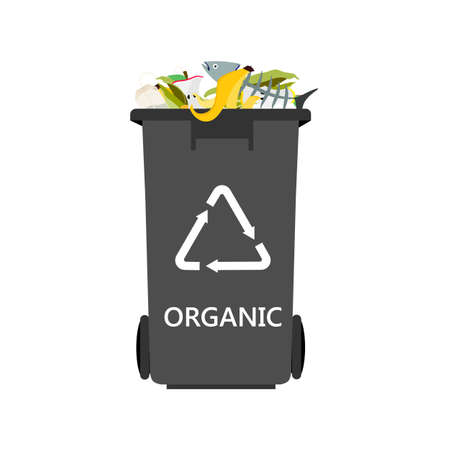 Grey can with sorted oraganic garbage raster icon. Recycling garbage separation and recycled isolated on white background. Recycling concept - plastic recycling bin full of organic waste Banque d'images