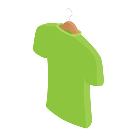 Green t-shirt on hanger, clothes on isolated white background. raster. Isometric view