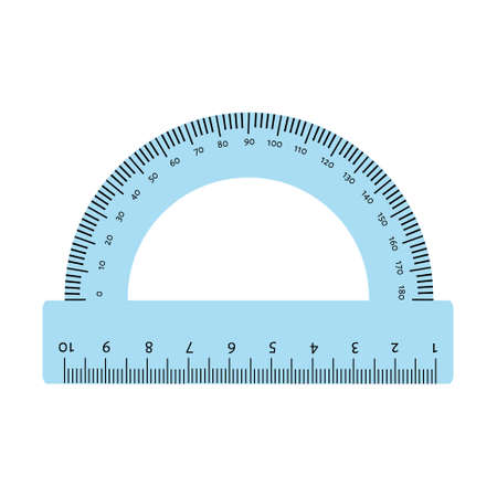 Blue protractor ruler isolated on white background Stockfoto