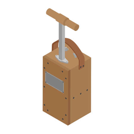 Detonator box. Blasting Machine isolated on white background. Caution explosive. Detonator plunger box