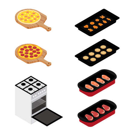 Set of various plates, forms of food and kitchen stove isolated on white background. Pizza, meat, fish and cookies. For restaurants menu design. Isometric view. raster