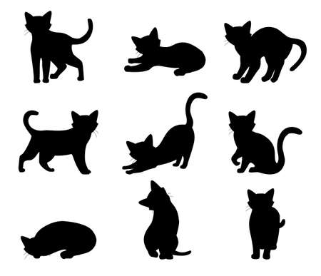 Cat set different poses black silhouette isolated on white background. Vector Vecteurs