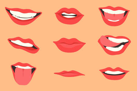 Red lips collection. Vector illustration of sexy woman's lips expressing different emotions, such as smile, kiss, half-open mouth, biting lip, lip licking, tongue out. Isolated Иллюстрация