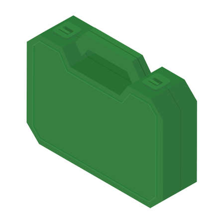Plastic green tool box isolated on white background isometric view. raster