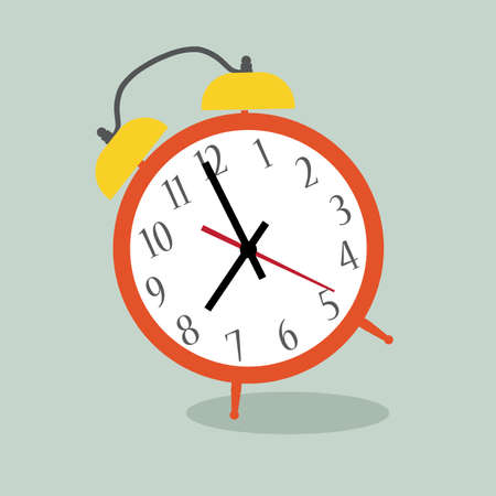 Alarm clock red wake-up time isolated on background in flat style. Vector illustration Illustration