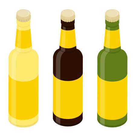 Glass beer bottles isolated on white background. Template for design Vector. Isometric view Illustration