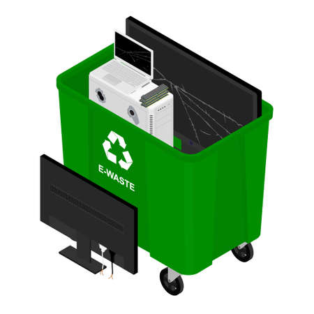 Electronic waste in green recycling garbage container can. Recycling garbage separation. Sorted electronic garbage vector icon. E-waste