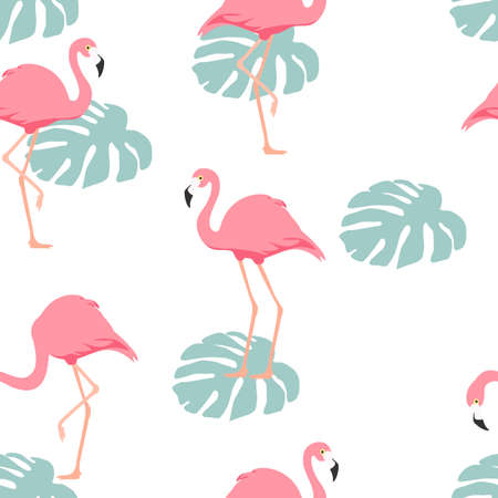 Tropical flamingo seamless pattern, background. Vector Illustration
