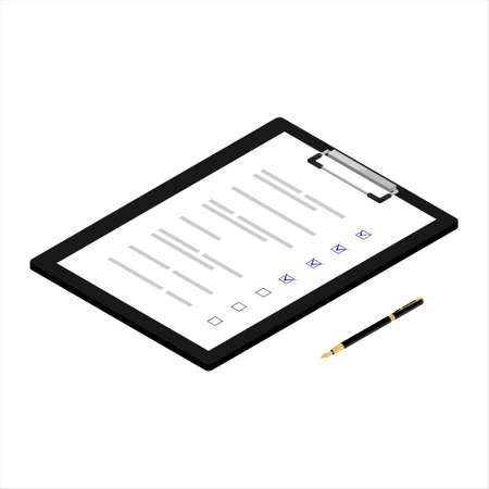 Filling out documents and passing the test. Clipboard with checklist. Vector. Isometric view