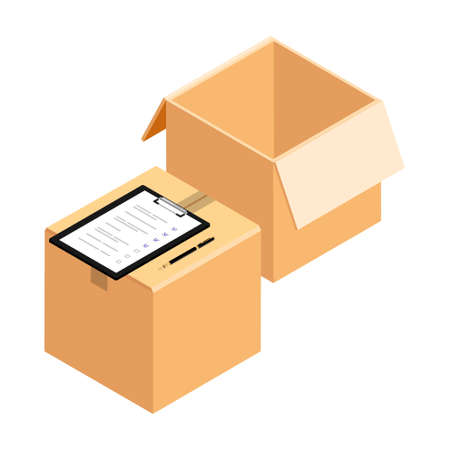 Empty open and closed cardboard box parcel with dispatch sheet invoice. Isolated on a white background.  Checking delivery order. Vector