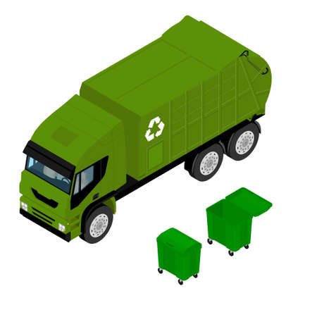 Garbage truck and green plastic container isolated on white background. Vehicle for waste. Isometric view. Vector Illustration