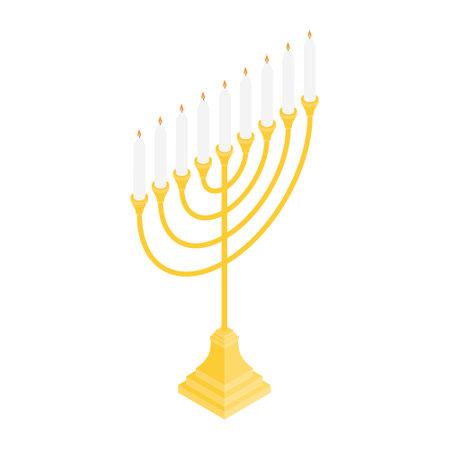 Menorah vector icon. Candelstick for hanuka, happy new year symbol. Biblical candelabrum. Isometric view