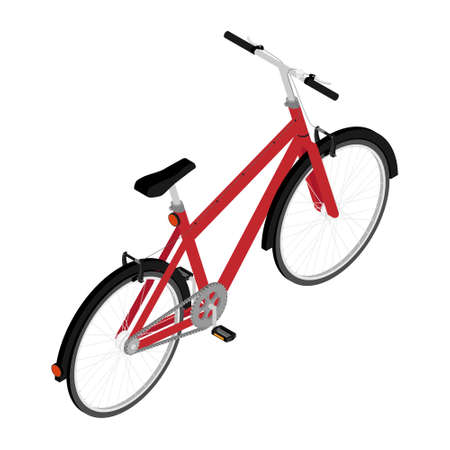 Red mountainbike bicycle with thick offroad tyres. Cycling sport transport concept isolated on white background. Isometric view.Vector