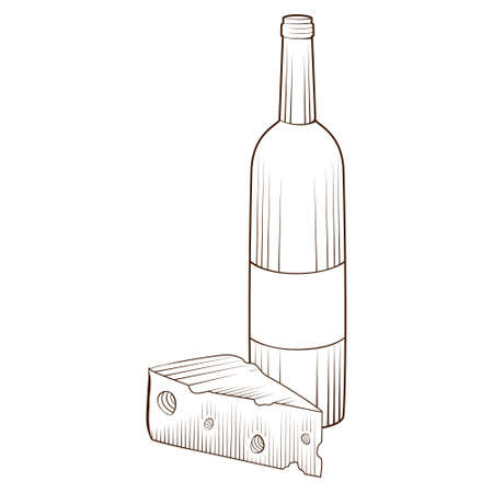 Hand drawn piece of cheese and bottle of wine isolated on white background. Food for red wine. Vector