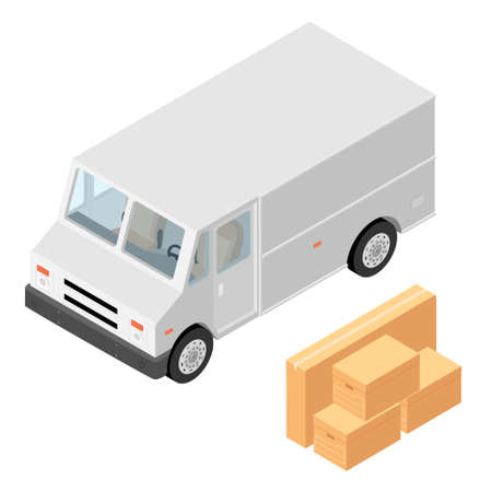 Parcel mail delivery truck, postal car and cardboard boxes isolated on white background. Delivery service transport. Vector Illustration
