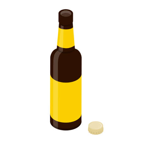 Opened glass beer bottle and cap isolated on white background. Vector. Isometric view Illustration