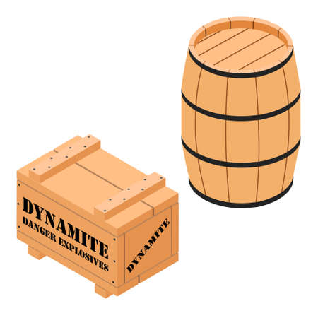 Danger explosives dynamite wooden box and barrel isoletad on white background isometric view