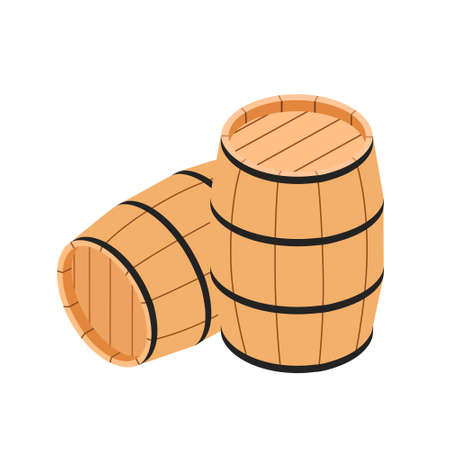 Wooden barrels for wine and other alcohol isolated on white background. Vector. Isometric view Illustration