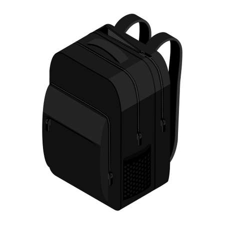 School Backpack. Backpack for schoolchildren, students, travellers and tourists. Back to School rucksack vector illustrations isolated on white.