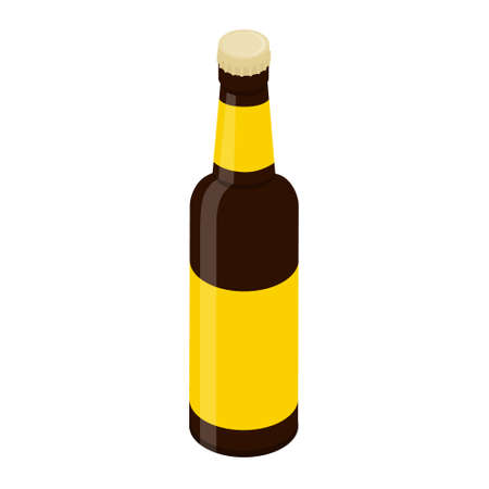 Glass beer bottle isolated on white background. Vector. Isometric view