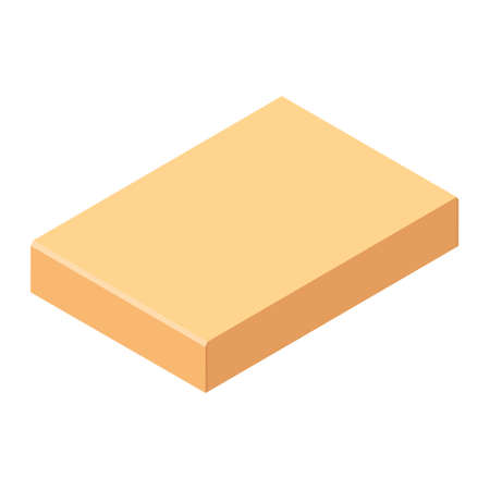 Closed cardboard box. Isolated on a white background. Vector illustration. Isometric view