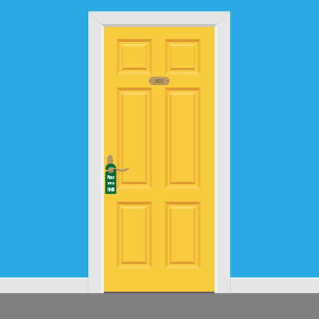 Hotel room yellow closed doors with frame. Please make up room sign. Vector illustration