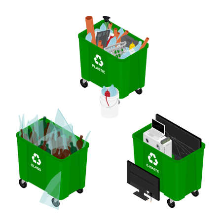 Garbage cans full of sorted garbage vector icons. Recycling garbage separation collection. Isometric view. Vector