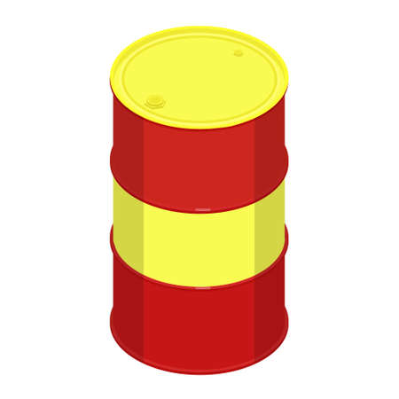 Blank realistic red oil barrel with yellow cap isolated on white background. Vector