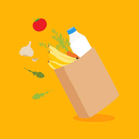 Grocery delivery at home: full shopping bag with fresh vegetables and fruits, food and beverage. Eco shopping bag. Paper bag with fruits and vegetables. Shopping vector concept