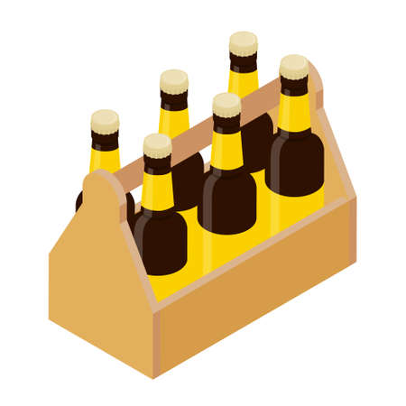Six pack glass beer bottles isolated on white background. Vector. Isometric view Illustration