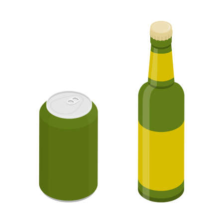 Glass beer bottle and can set isolated on white background. Vector. Isometric view