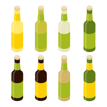 Glass beer bottles isolated on white background. Template for design Vector. Isometric view
