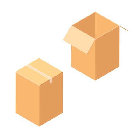 Empty open and closed cardboard box. Isolated on a white background. Vector illustration. Isometric view Illustration