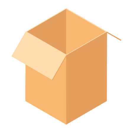Empty open cardboard box. Isolated on a white background. Vector illustration. Isometric view