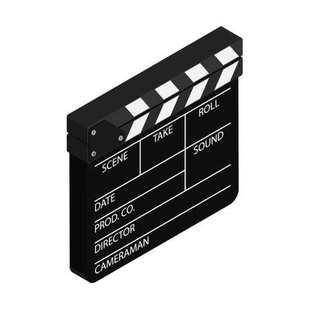 Film clapper board isolated on white background. Blank movie cinema clapper. Vector. Isometric view