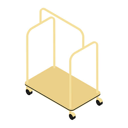 Vector illustration of empty hotel luggage cart. Luggage trolley isometric view. Isolated on white background.