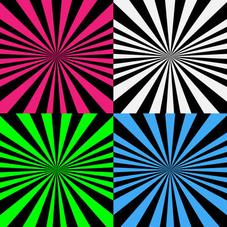 Vector illustration psychedelic spiral set with radial rays, comic effect, vortex background. Hypnotic spiral